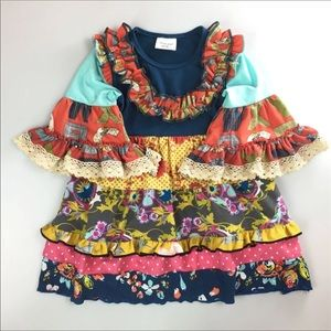 Other - Sz 7T Fall Ruffle New Patchwork Dress